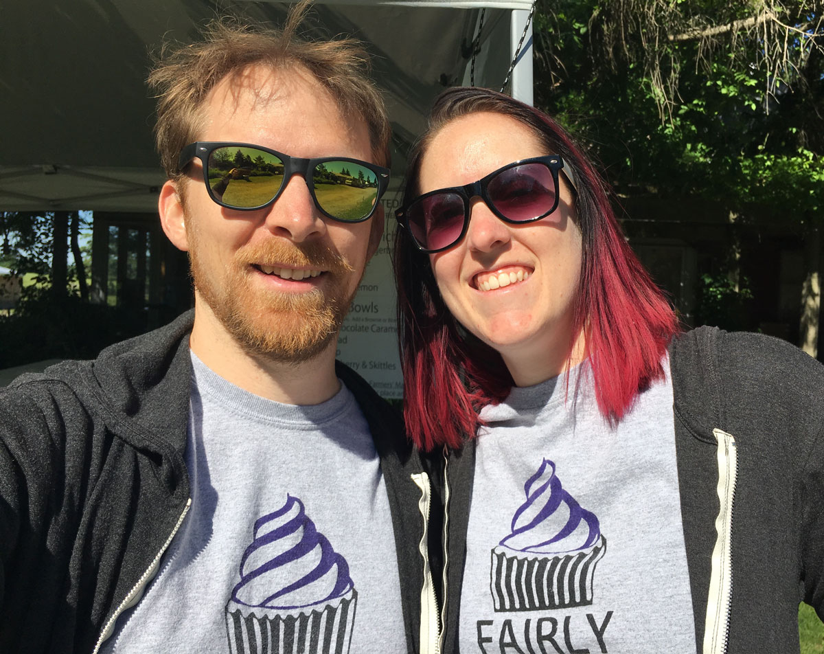 Chad (left) & Lise (right) wearing Fairly Frosted t-shirts standing in front of the Fairly Frosted booth at the Donkey Sanctuary of Canada's 2016 Donkey Day event