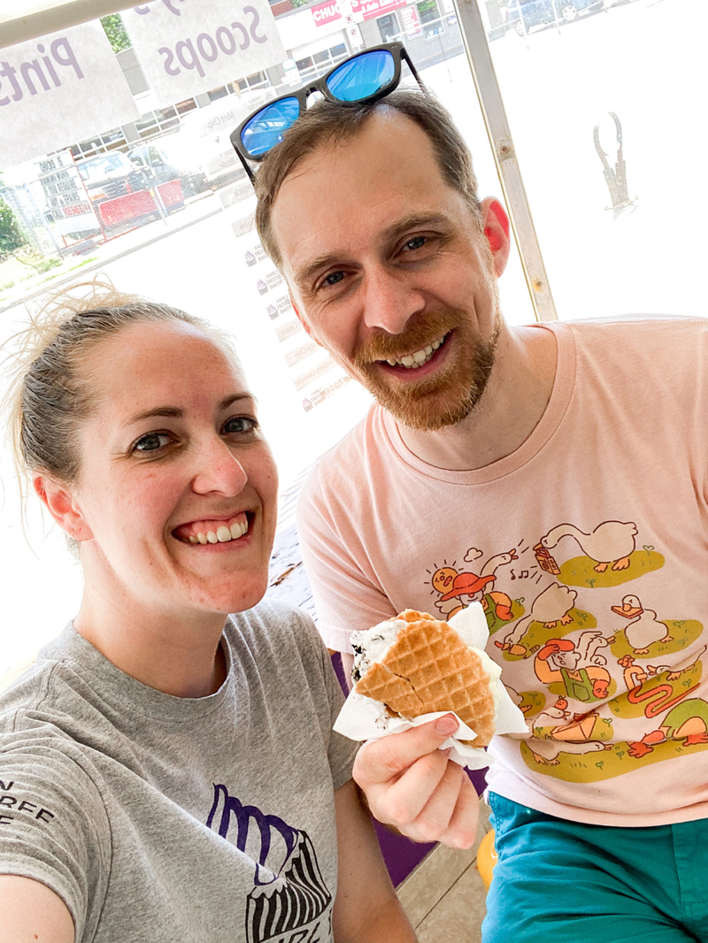 Chad (right) & Lise (left) inside of the Fairly Frosted scoop shop in Hamilton in July 2020